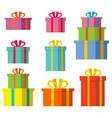 set boxes with gifts on a white background vector image