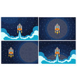 set of four with flying rocket vector image vector image