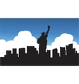 Silhouette of statue liberty blue sky vector image vector image