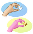 sketch hand is holding puzzle piece golden jigsaw vector image