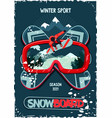 snowboard protective mask with snowboarder on vector image vector image