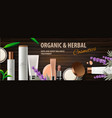 top view of organic cosmetic products with herbal vector image