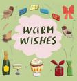 warm wishes card template with birds vector image vector image