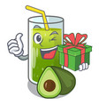 with gift avocado smoothies are isolated on vector image