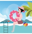 woman in pool with ball summer vacation swimming vector image