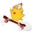 Yellow chicken and skate board cartoon vector image vector image