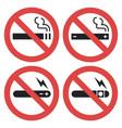 symbol set - vaping forbidden smoking vector image
