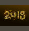 2018 new year golden confetti salute number vector image vector image