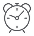 alarm clock line icon time and hour deadline vector image vector image