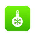ball for the christmas tree icon digital green vector image