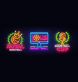 basketball neon logo collection basketball vector image
