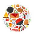 bbq party barbecue grill picnic for cafe bar menu vector image vector image