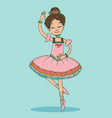 beautiful brunette ballerina girl dancing vector image