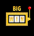big win text slot machine golden glowing lamp vector image vector image