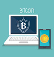bitcoin business with laptop computer vector image vector image