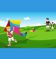 boys flying kite with their dad vector image