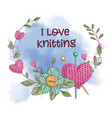 Cartoon watercolor wreath knitted elements