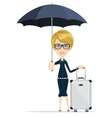 Cartoon woman with luggage vector image vector image