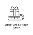 christmas gift box sleigh line icon outline sign vector image