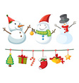 Christmas theme with snowman and ornaments vector image vector image