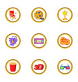 cinema festival icons set cartoon style vector image vector image