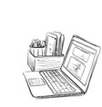 computer on white background free hand drawn vector image