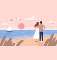 couple at sea sunset man and woman on date vector image