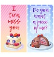 cute food characters with funny flirty quotes vector image