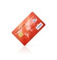 Detailed glossy red credit card icon vector image vector image