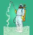 disinfection suit protection epidemic virus vector image