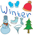 drawn colored snowman with word winter vector image vector image