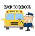 Driver In Front of School Bus vector image vector image