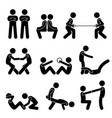 exercise workout with a partner stick figure vector image vector image