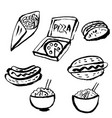 fast food grunge ink icon set vector image
