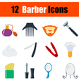 flat design barber icon set