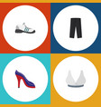 flat icon garment set of brasserie heeled shoe vector image vector image
