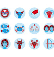 Funny blue zodiac sign icon set astrological vector image vector image