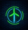 glowing neon sign of windmill in circle frames on vector image vector image