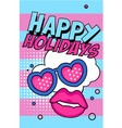 happy holidays banner bright retro pop art style vector image vector image