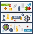 Horizontal banners with game icons in flat design vector image