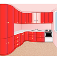interior of the kitchen red vector image vector image