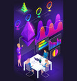 isometric view of smartphone screen business trai vector image vector image
