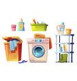 laundry equipment bathroom stuff set vector image