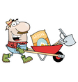 Male Landscaper Pushing Seeds A Rake And Shovel