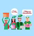 mix race people wearing elf costume holding gift vector image vector image