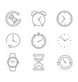 monochrome line set with clocks timers and watches vector image
