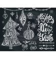 New year2017Christmas treebals Letteringdecor vector image vector image