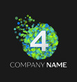 number four logo particles and bubble dots vector image vector image