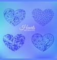 ornamental decorative heart set on blurred vector image