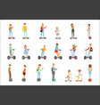 people riding electric self-balancing batery vector image vector image